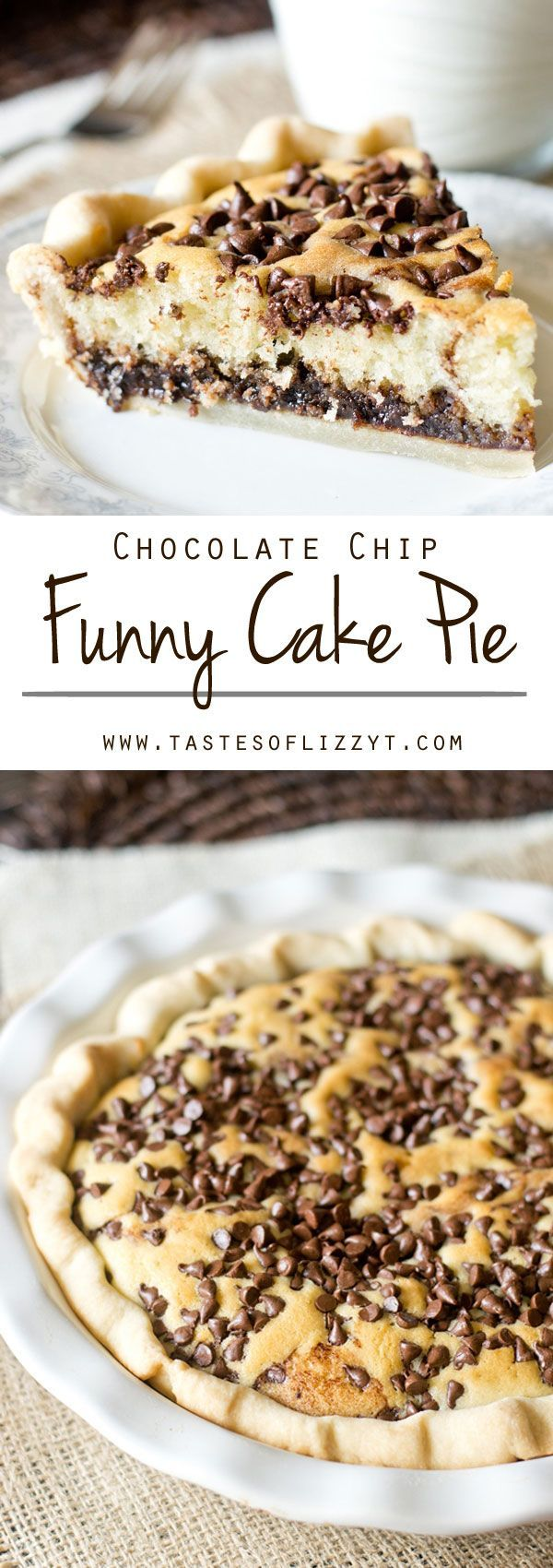 Chocolate Chip Funny Cake Pie on http://MyRecipeMagic.com. Chocolate Chip Funny Cake Pie is an old recipe with timeless appeal. Chocolate fudge is topped with a soft, buttery cake and bakes inside a pie shell.