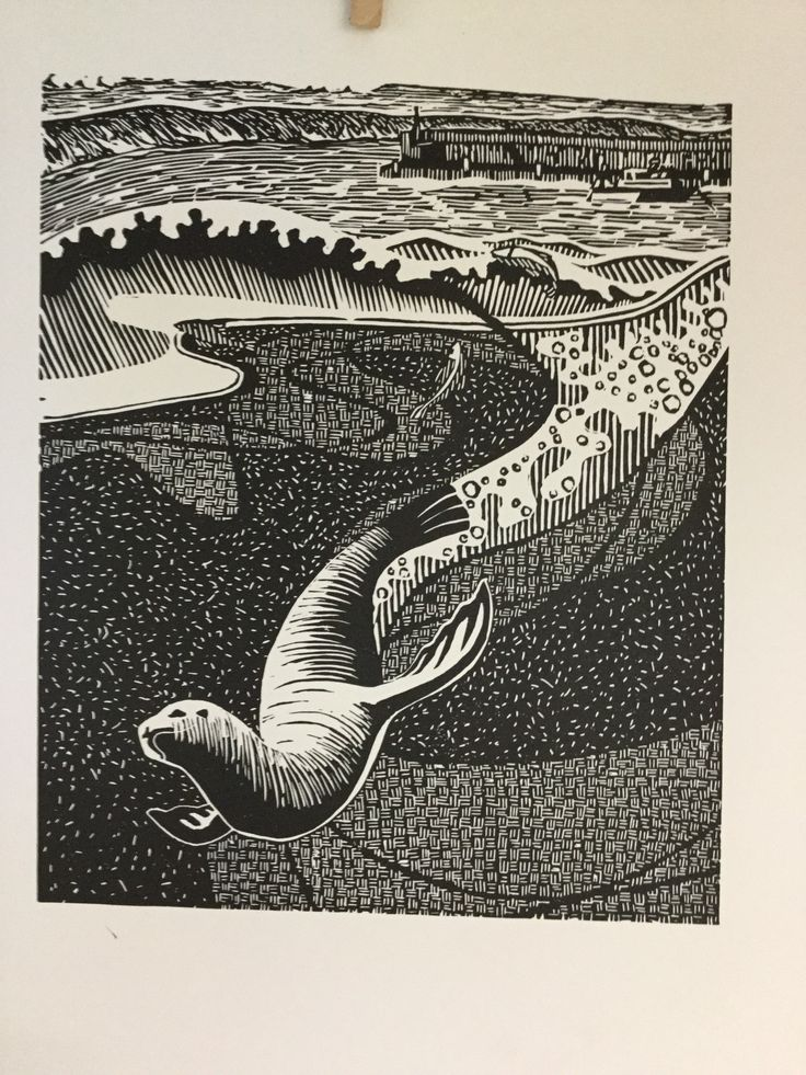 While I swam, Linocut from the Roundabout Solo Exhibition 2015