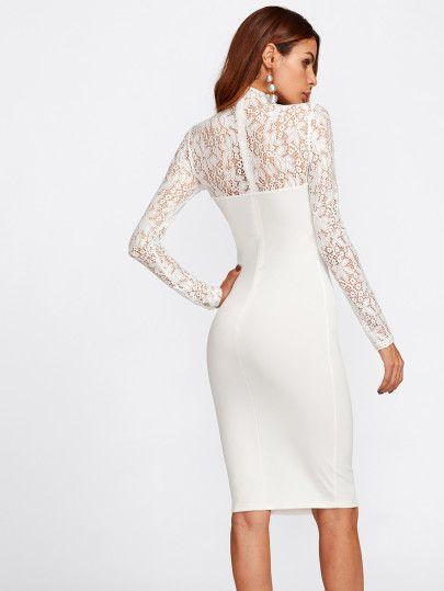 9e06b615e7 Floral Lace Yoke And Sleeve Form Fitting Dress -SheIn(Sheinside ...