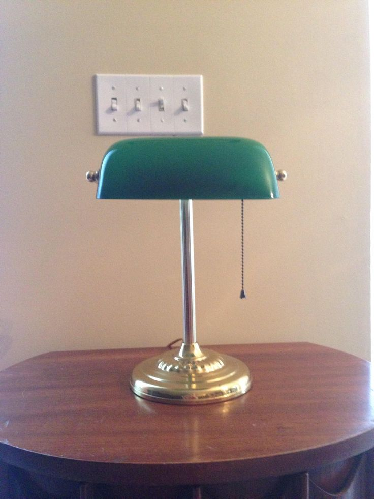 Desk Lamp - Banker's Lamp - Brass Stand with Green Lamp Shade - Vintage Home Office or Library - 1960's by YesterdaysPieces on Etsy