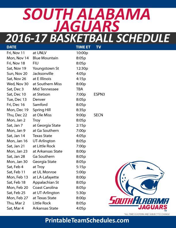 South Alabama Jaguars Basketball Schedule 2016-17. Print Here - http://printableteamschedules.com/NCAA/southalabamajaguarsbasketball.php