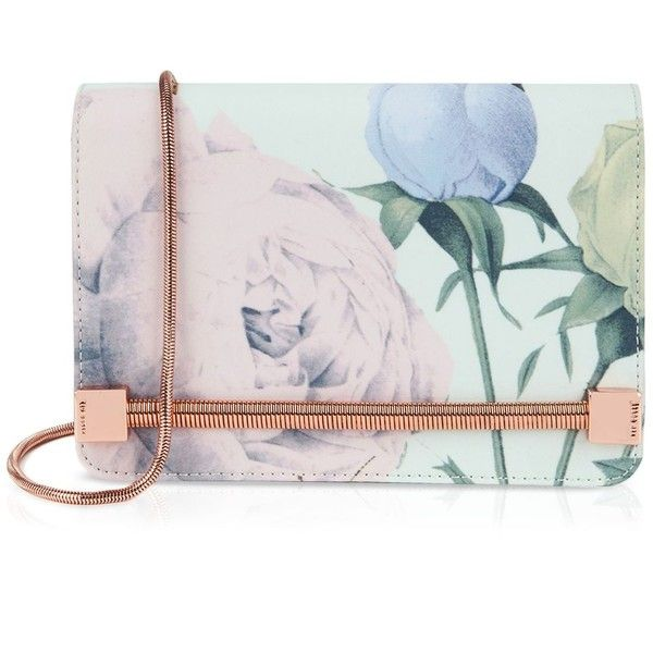 Ted Baker Clutch - Prissi Distinguishing Rose (€150) found on Polyvore featuring bags, handbags, clutches, mint, envelope clutch bag, chain strap purse, mint handbag, ted baker clutches and ted baker handbags