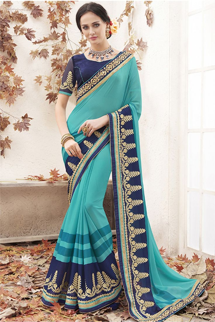 Sky Blue Colour Georgette Fabric Party Wear Designer Saree Comes With Matching Blouse. This Saree Is Crafted With Lace Work. This Saree Comes With Unstitched Blouse Which Can Be Stitched Up To Size 42...