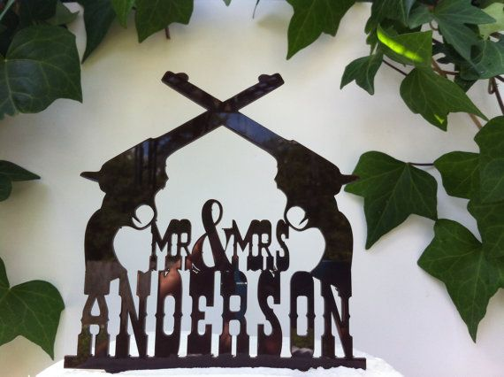 Country, Rustic, Western Pistol Custom Personalized Wedding Cake Topper on Etsy, $29.00
