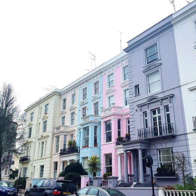 Colorful flats in Notting Hill.