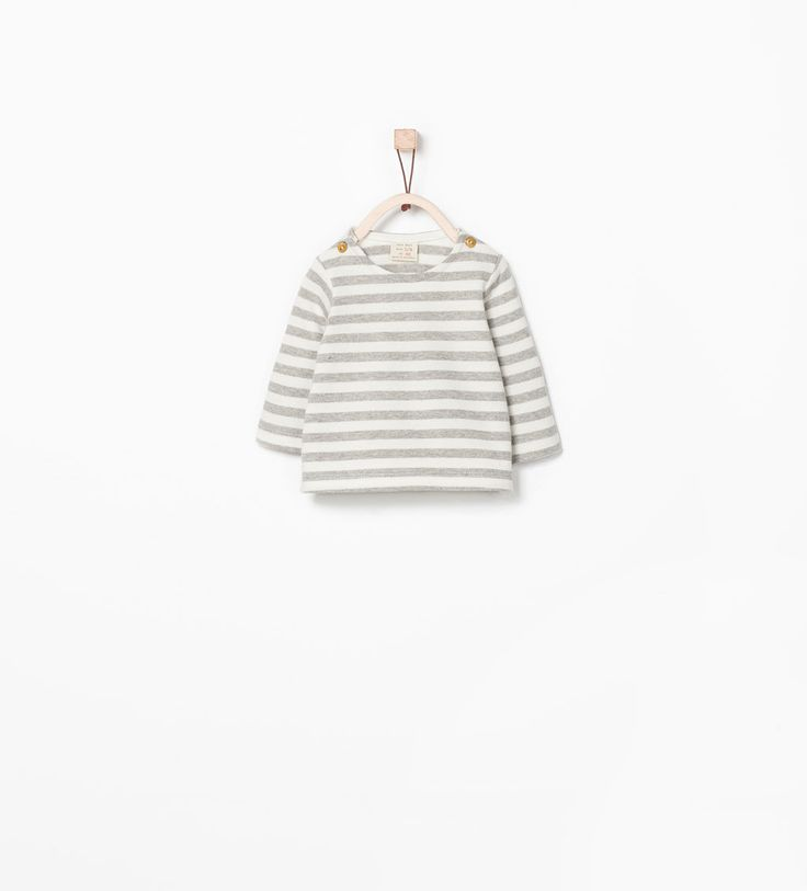 Striped organic cotton t-shirt with elbow patch-Tops-MINI | ZARA United States