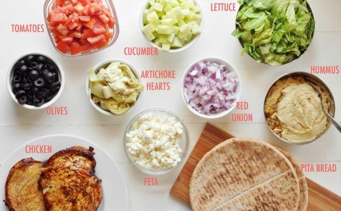 kichererbsen nährwerte oliven hummus zwiebel tomaten salat käse gurke hänchen brot