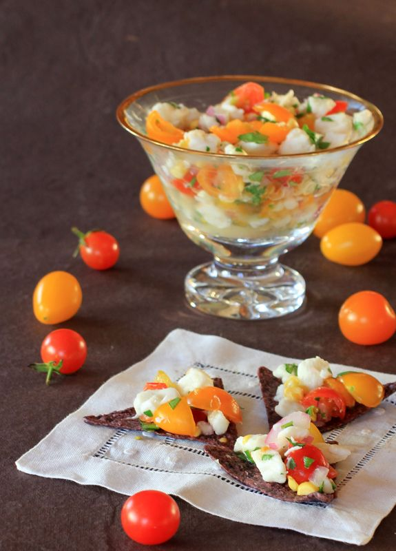 Halibut Ceviche with Summer Sweet Corn and Cherry Tomatoes ...