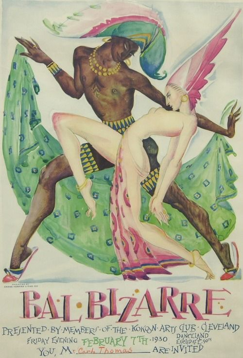 Kokoon Arts Club Bal Bizarre Poster (1930). Rolf Stoll (1892-1978). Lithograph in colors on paper printed by the Crane Howard Litho. Co.