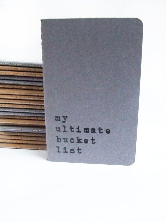 Screen printed MOLESKINE® notebooks - Hand printed journals with words 'my ultimate bucket list'; Recycled paper Stationery; Funny Notebook; on Etsy, $8.60