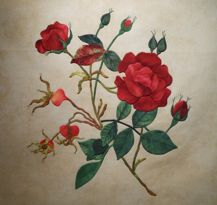 "Nancy Kerns' One Day class: ""Millennium Rose"". design by Ellen Heck. Baltimore on the Prairie workshop, September 2013. Learn how to shade a realistic rose using window templates, handle tiny details like finely shaped stems and naturally shaped calyxes and add embroidered accents that bring the design to life."