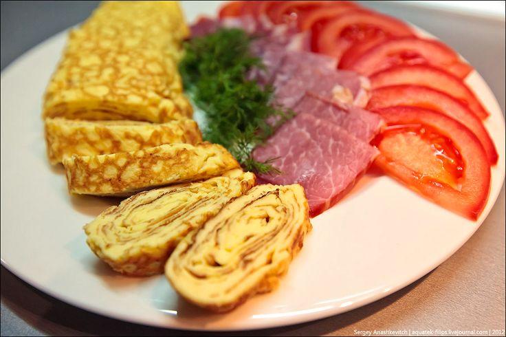 Омлет с вяленым мясом по-японски. Ужин холостяка.