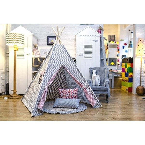 Grey #Teepee #Kids #Play #Tent in modern grey zig zags. Perfect for Boy as well as girl bedroom Available online at #funique !