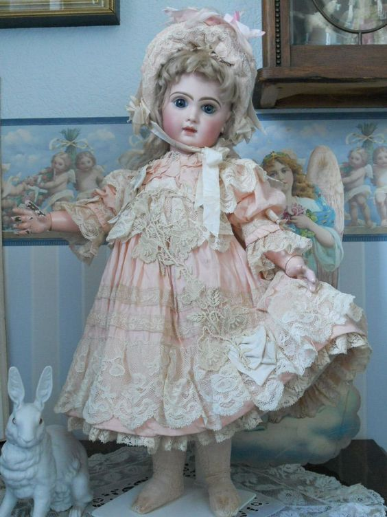 ~~~ Beautiful Childlike French BeBe Muslin Costume with Fine Bonnet from whendreamscometrue on Ruby Lane