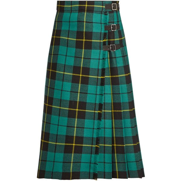 Gucci Tartan wool skirt ($1,980) ❤ liked on Polyvore featuring skirts, bottoms, gucci, green multi, plaid skirt, midi skirt, green plaid skirt, ruffle skirt and high waisted midi skirt