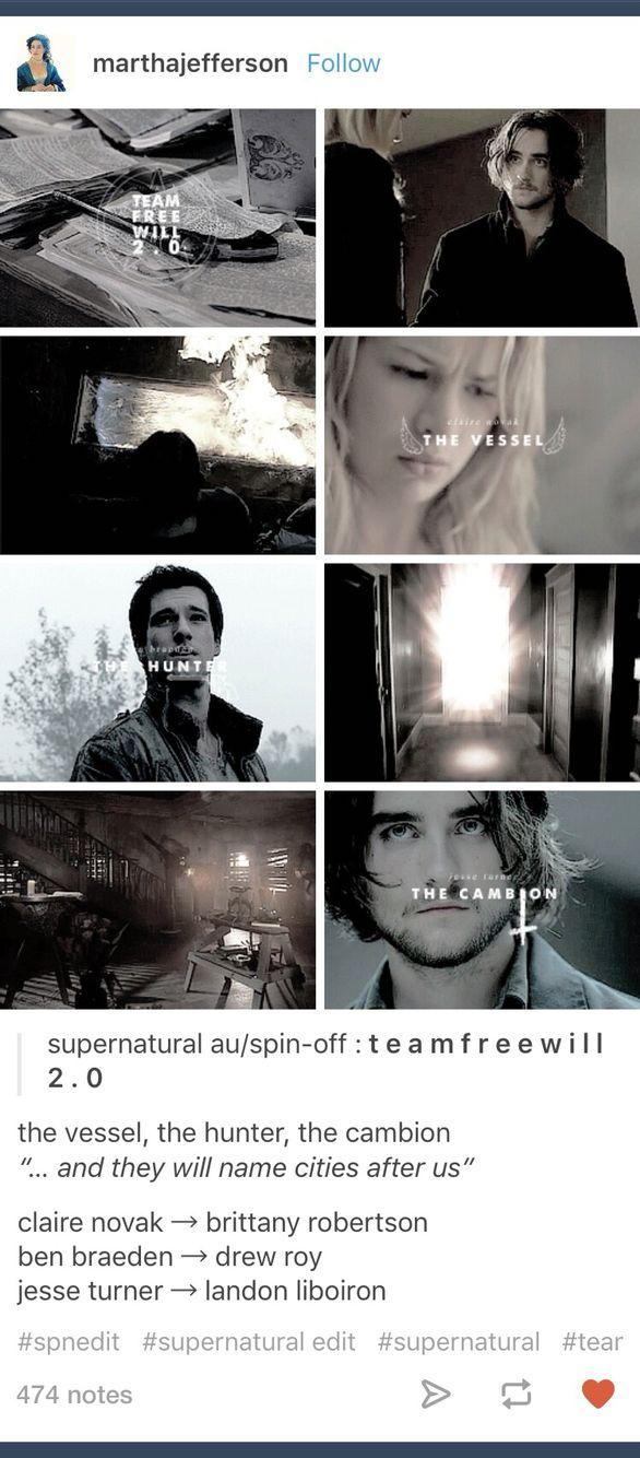 Supernatural; next generation; team free will 2.0; Jesse Turner; Ben Braeden; Claire Novak