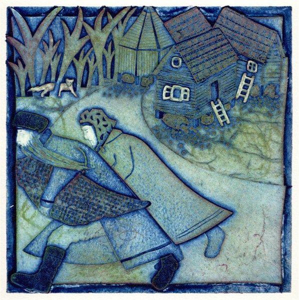 Sophie's Story 2 The Escape Collagraph by Ann Burnham