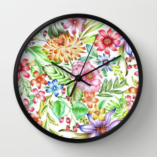 Sweet Garden Wall Clock by Marina Barbato   Society6