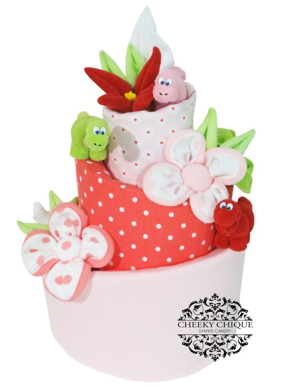 Lovely Lily Baby Dinosaur Topsy Turvy Diaper Cake by Cheeky Chique Baby Diaper Cakery