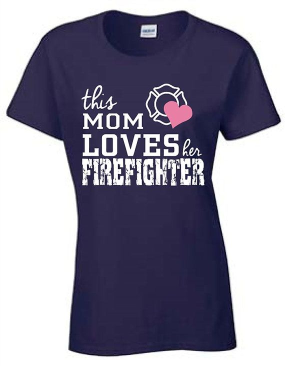 A great gift for Mom! A new design 2014 Firefighter Mom Navy T-shirt printed on a Gildan Womens T shirt. This is a soft comfortable t-shirt not