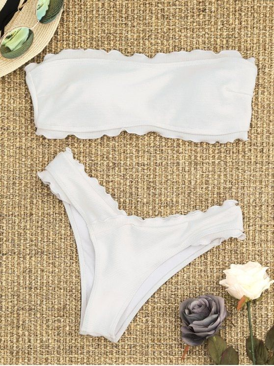 1fa95e7bfa Ribbed Lettuce Trim Bandeau Bikini Set.  Zaful  Swimwear  Bikinis zaful