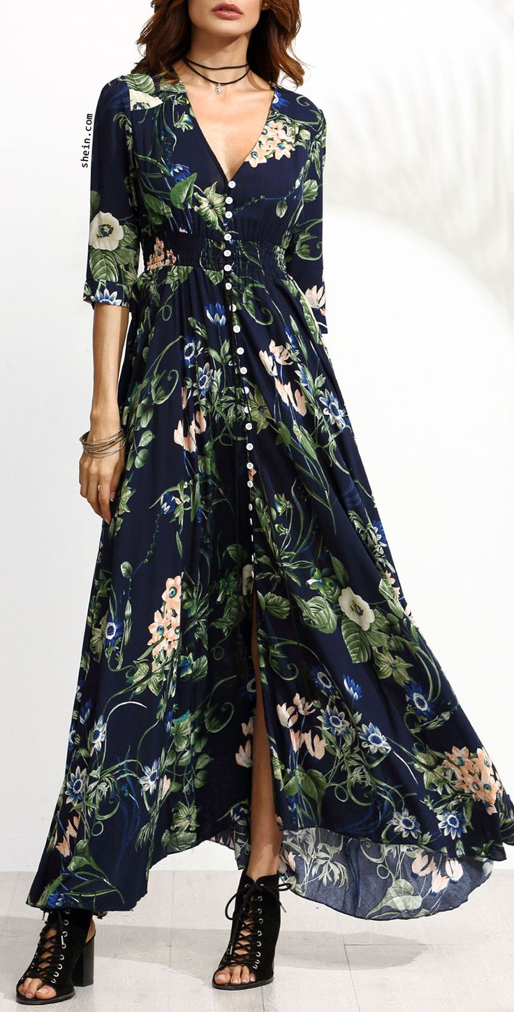 Navy Floral Print Half Sleeve Button Front Dress. More colors available!