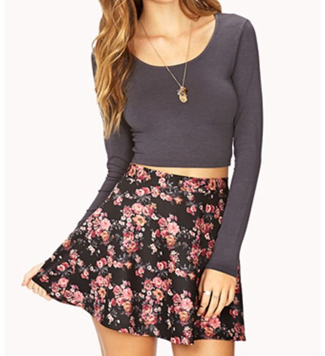 crop top with high waisted skater skirt clothes and