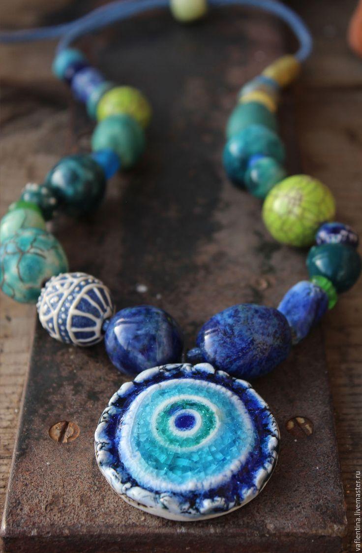 """Купить """"Павлин"""" керамические бусы - синий, зеленый, керамические бусы, бусы из керамики, авторская керамика"""