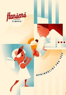 Hansens Flødeis - poster from Danish dairy store