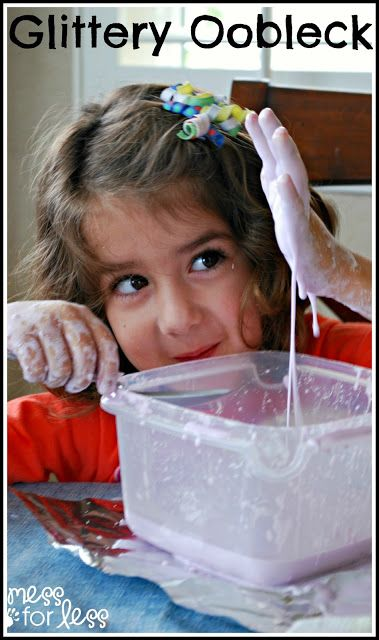Glitter Oobleck Recipe - A few simple ingredients needed to make this fun slime that kids love to play with. A great sensory experience for little ones!