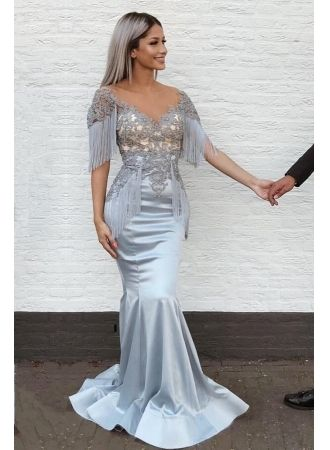 40fdbe2bf9f4 Gorgeous V-Neck Mermaid Prom Dresses With Tassels