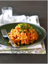 From Sophie Gray (Destitute Gourmet) - Peanut chicken and rice. Make 1-2 breasts of chicken go a long way