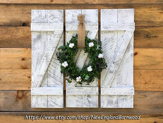 Shutters Wall Decor- Handmade whitewashed decorative wall mount wood shutters. PRICE SHOWN IS FOR ONE SINGLE SHUTTER. These Rustic Z Bar style Shutters, Window Shutters are created from sawmill, one-inch thick, weathered pine wood and authentic old Rose-head nails, very sturdy and