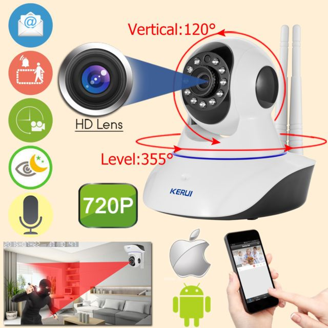 Kerui N62 Wifi 720p Wireless Home Security Ip Cctv Camera Motion Detection Wireless Home Security Security Cameras For Home Home Security Devices