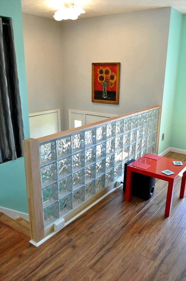 Glass block wall built to replace the colonial stair ballister. Also thinking of encorporating shades of mint on the walls, similar to this. Another option is to use finishing blocks on the top and sides of the wall - here's how http://innovatebuildingsolutions.com/products/glass-block/glass-block-walls-bars