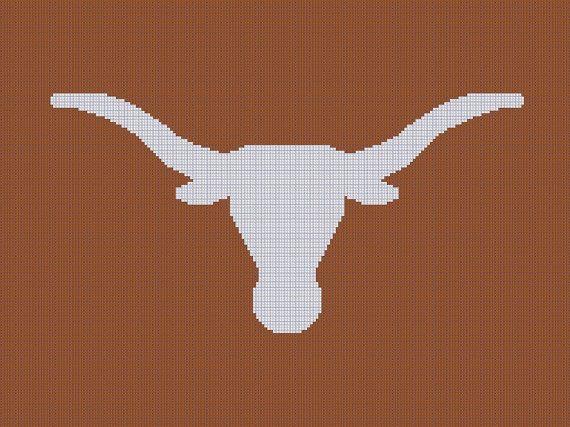 Crochet Pattern For Texas Longhorn Afghan : University of Texas - Longhorns - Afghan Crochet Graph ...