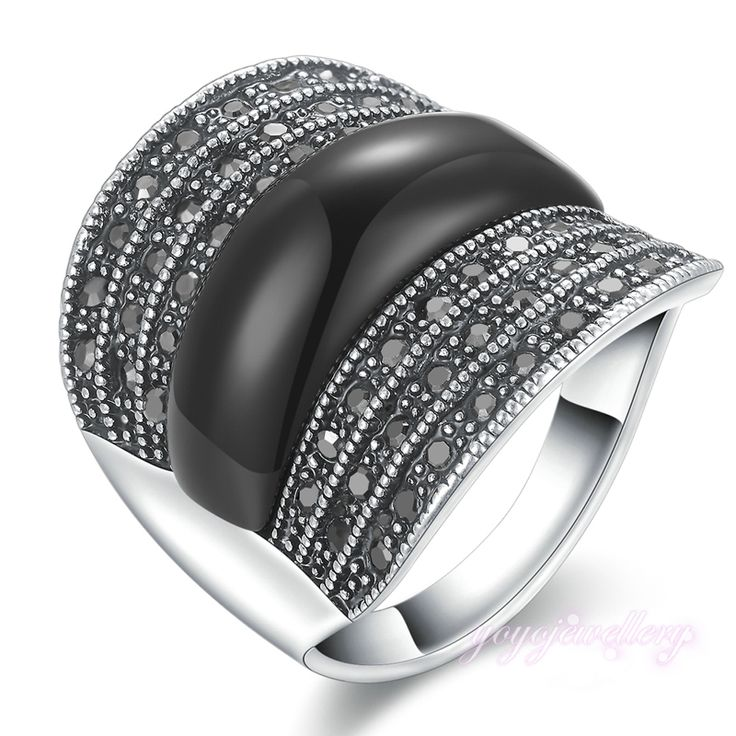 Mytys Black Ring Crystal Invisible Setting  Gold Plated Retro Rings For Women R1023
