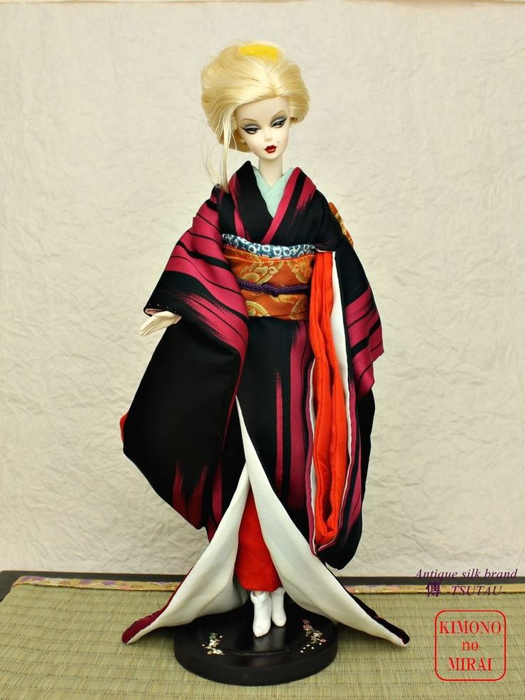 KIMONOnoMIRAI Antique silk kimono of real thing,Barbie,Poppy Parker,FR NIPPON  #KIMONOnoMIRAI