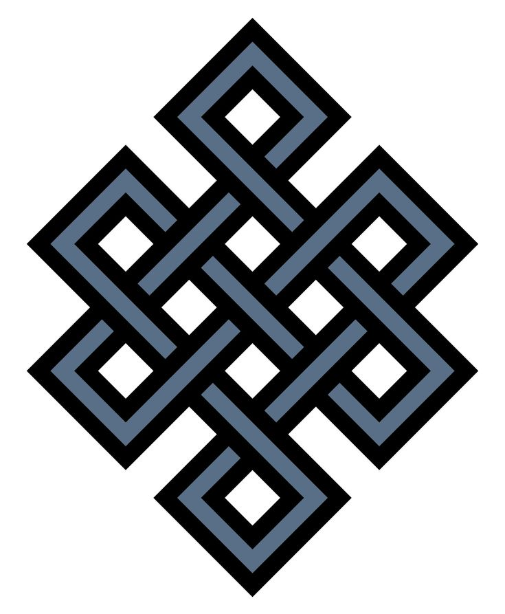Buddhist Symbol of the Eternal Knot.  The intertwining of lines in the eternal knot is said to symbolize how everything is connected. It can also represent how religion and secular affairs, as well as compassion and wisdom are united and connected to each other.