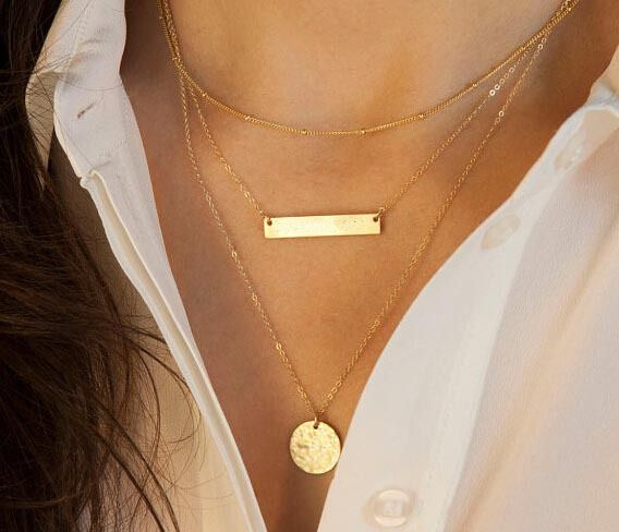 Simples de ouro e prata dupla cadeia de grânulos de turquesa lantejoulas colar para mulheres melhor presente JHS005 ( 19 tipos disponíveis ) em Colares com pingente de Jóias no AliExpress.com | Alibaba Group
