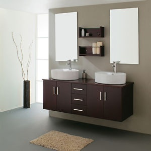 """Installing something this elegant takes a pro. Who wouldn't want a bathroom vanity this clean? MD59O22B 59"""" modern double sink bathroom vanity $899"""