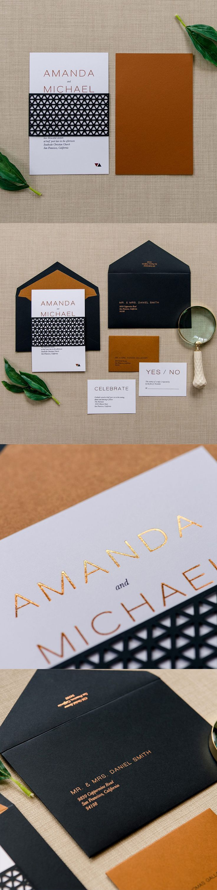 Sleek and #modern wedding invitation suite by /engagingpapers/ a geometrically patterned bellyband. The front depicts a combination of sophisticated and traditionally modern fonts with an added touch of copper foil to make your details pop. Tucked into the back of the bellyband is your smaller copper colored envelope, holding your accommodation cards. The set is stuffed inside an elegant black envelope with a matching copper liner to complete this timelessly moder