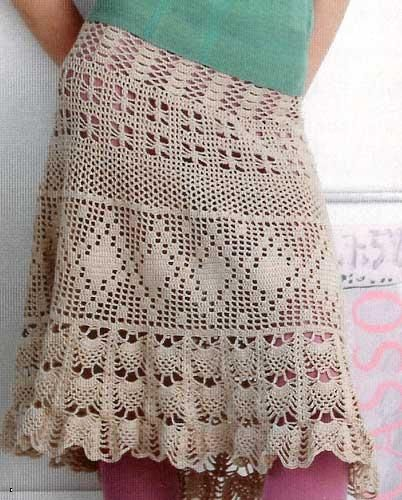 Beige Crochet Skirt free crochet graph pattern