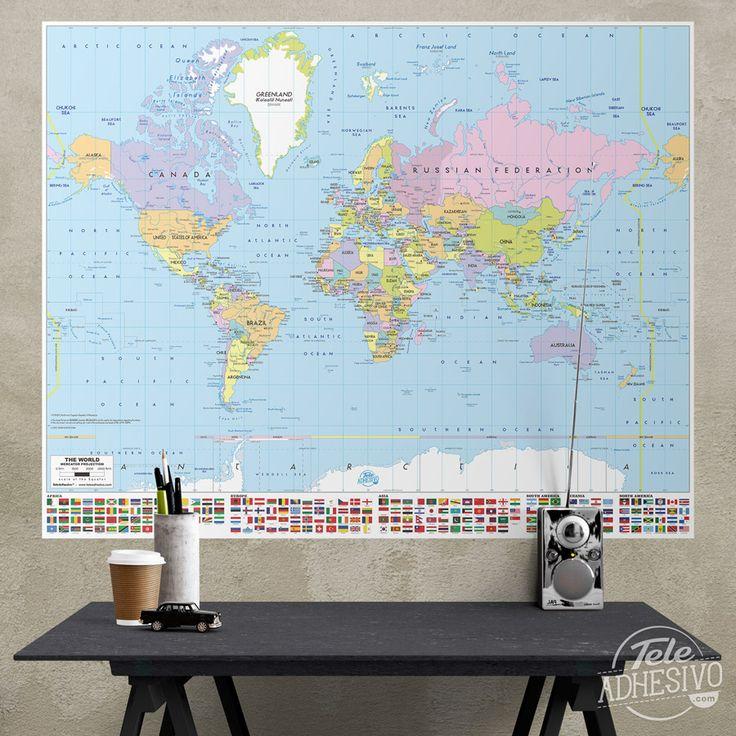 Vinilos Decorativos: Póster adhesivo Mapamundi con banderas #decoracion #colegio #escuela #vinilo #pared #adhesivo #educación #mapa #geografía #mapamundi #banderas #TeleAdhesivo