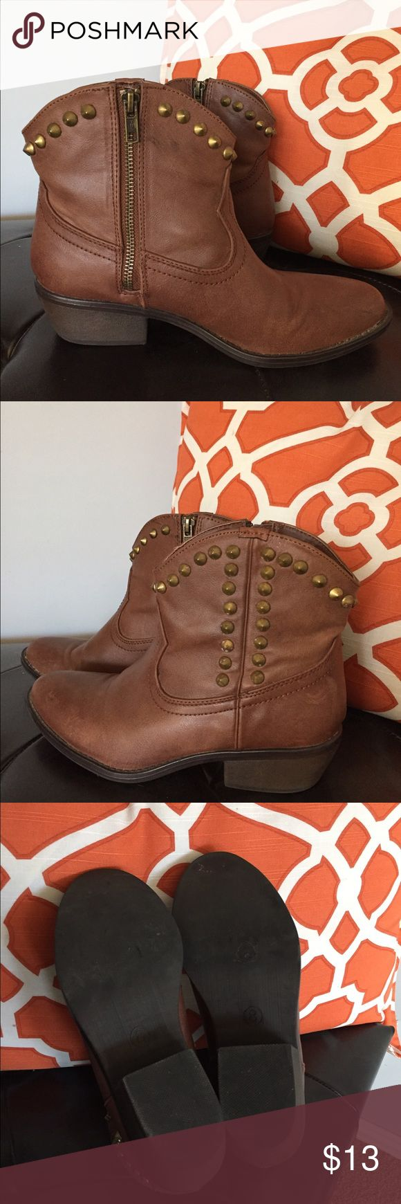 Brown ankle boots with gold studs, cowboy style Brown ankle boots with gold stud details and inner zip. Cowboy style. Wore these to a cowboy bar with short shorts once. Shoes Ankle Boots & Booties