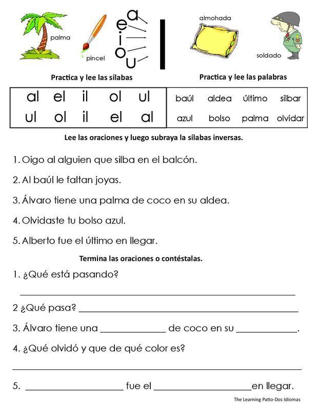 Sílabas Inversas Carteles Y Práctica The Learning Patio Es Un Sitio Web De Suscripción Para Educad Lectura De Palabras Silabas Inversas Lectura De Comprensión