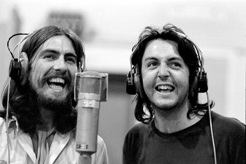 George Harrison and Paul McCartney recording 'Because' at Abbey Road Studios, 1969. Rare smiles from the final days. :-)
