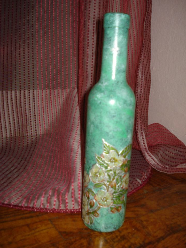 Green bottle with white almond blossoms!!!