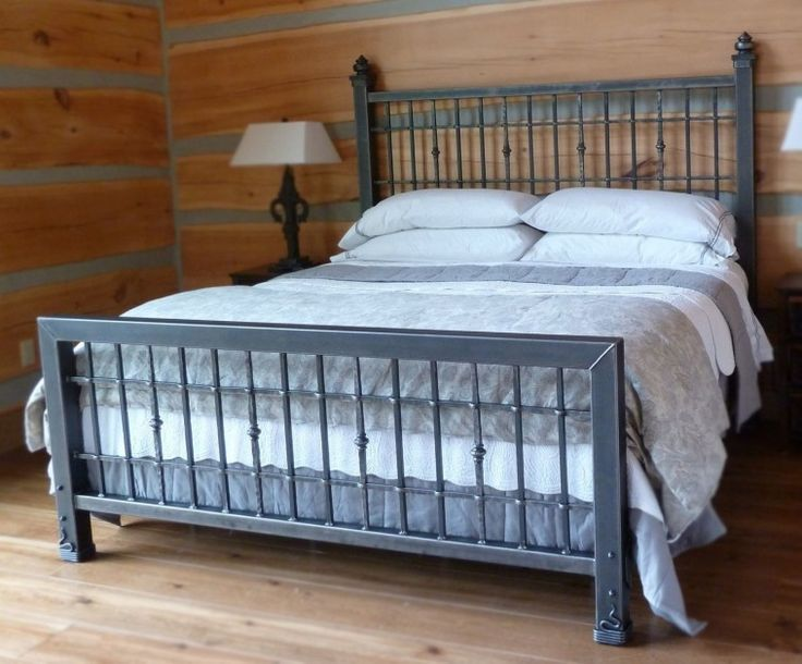 King Size Iron Beds Frames In Grey Finish With Decorative White Bed Linen And Shade Table Lamp