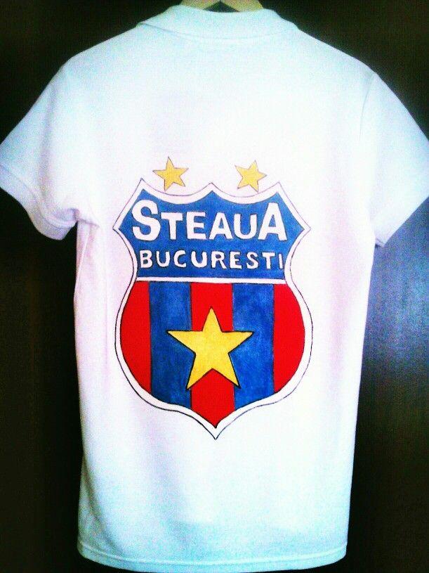 Steaua Bucuresti_ Tricou imprimat prin pictare manuala
